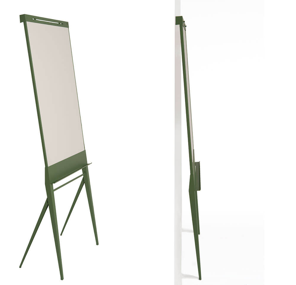 Iconic mobile flip-chart with paper roller - Designboard STRUIS