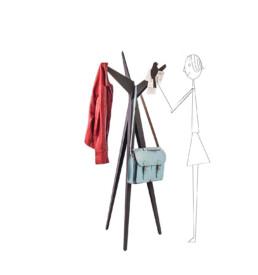 Design coat rack, idea tree with bird magnets.
