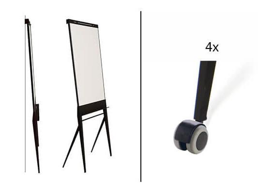 Verrijdbare, multifunctioneel designboard: flip-over, whiteboard en paprierroller.