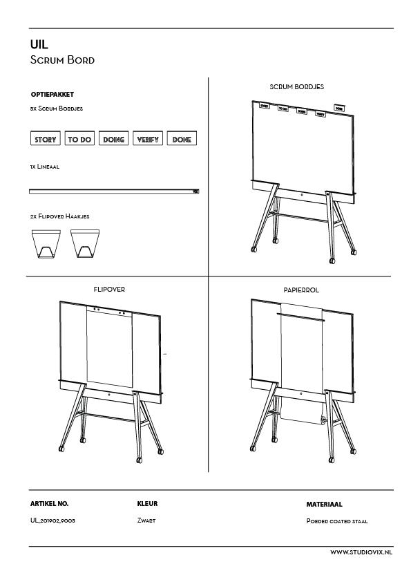 Multi-functionele verrijdbare whiteboard met flip-over haken en papier roller