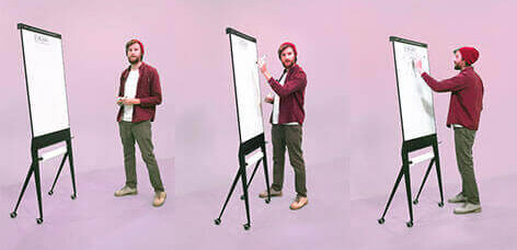 STRUIS designboard verrijdbare flip-over, whiteboard met paprierrol. mobile flip-chart, whiteboard with paperroller; circular, magnetic, enamel