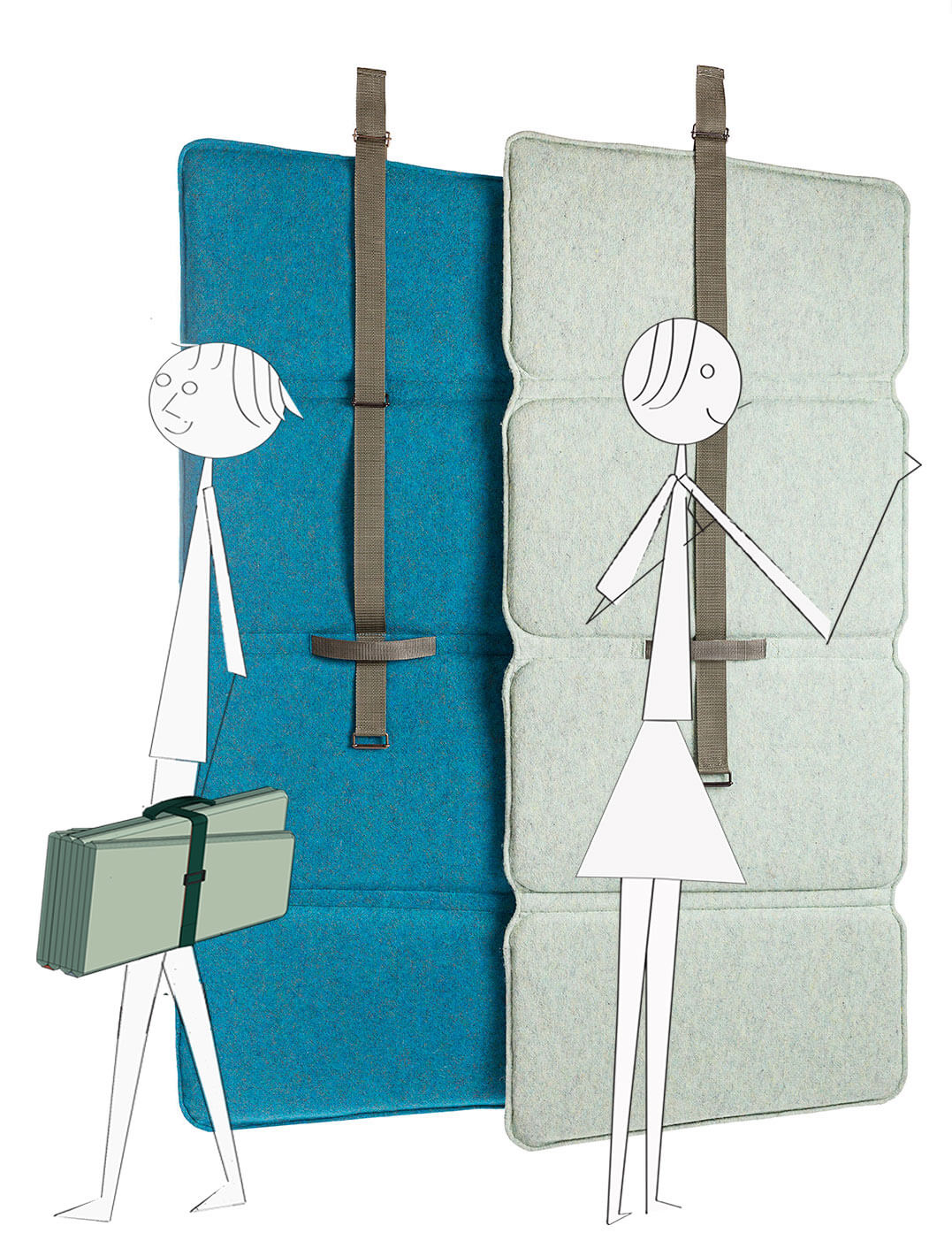 Acoustic desk-screen, room-divider, wall-panel. Optimal comfort for flex working