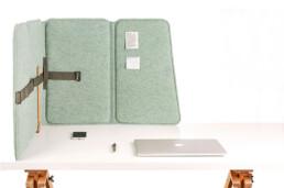 Geluidsabsorberend flexibel scherm voor op bureau - VLINDER