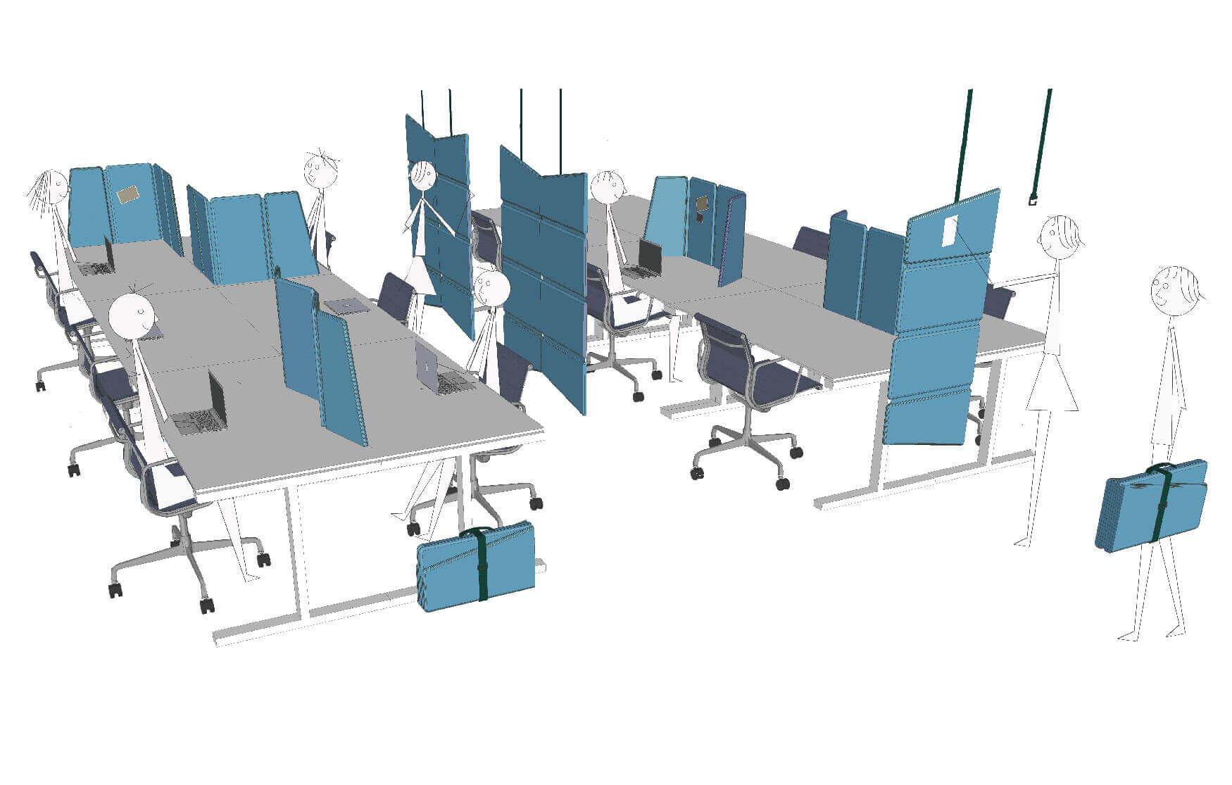 Acoustic desk-screen, room-divider, wall-panel.
