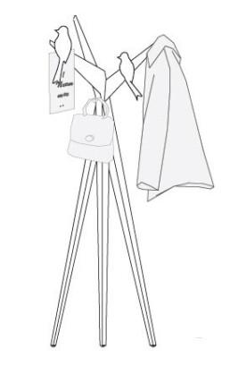 Elegante kapstok BOOM met vogelmagneten, voor ideeën, complimenten en jassen