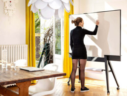 Beautiful iconic mobile whiteboard double sided magnetic with scrumboards