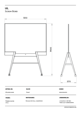 Double sided magnetic whiteboard, mobile with scrum plates