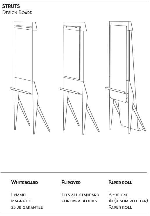 Designboard STRUIS: Magnetisches Whiteboard, Flipchart met Papierabroller