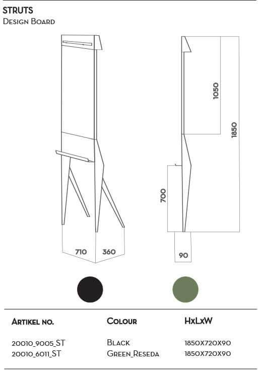 Een mooi verrijdbare flip-over, whiteboard met paprierrol. Iconisch designboard STRUIS
