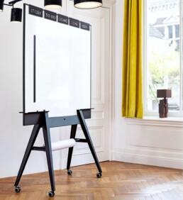 Design scrumboard, whiteboard, Stijlvol, verrijdbaar, dubbelzijdig, magnetisch.