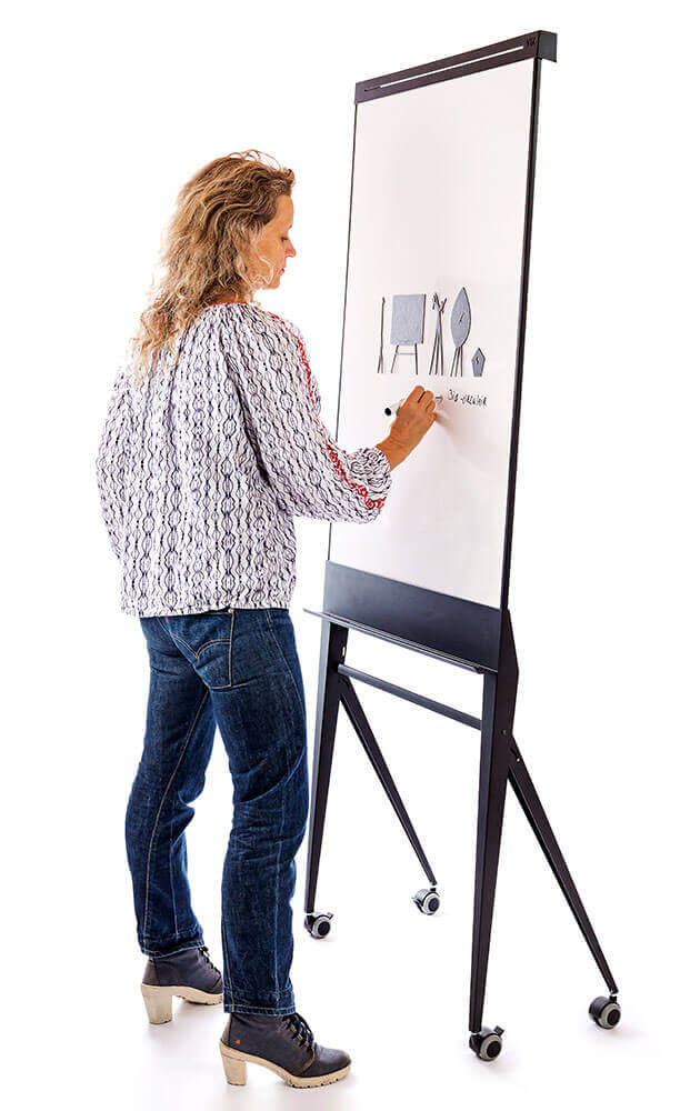 Design flip-chart, whiteboard with paperroller; circular, magnetic, enamel