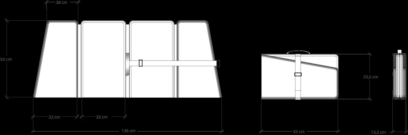 VLINDER akoestisch flex-bureauscherm, wandpaneel. Acoustic desk-screen, room-divider, wall-panel. Akustik-Klappschirm, Büroschirm,