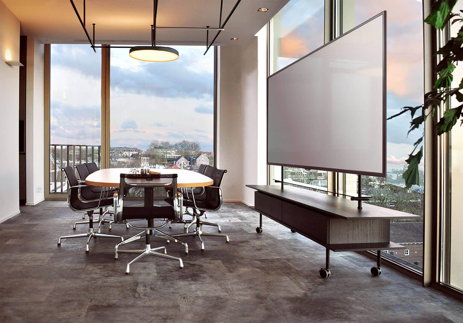 Een verrijdbaar digitaal scherm, LCD monitor, een stijlvol ontwerp