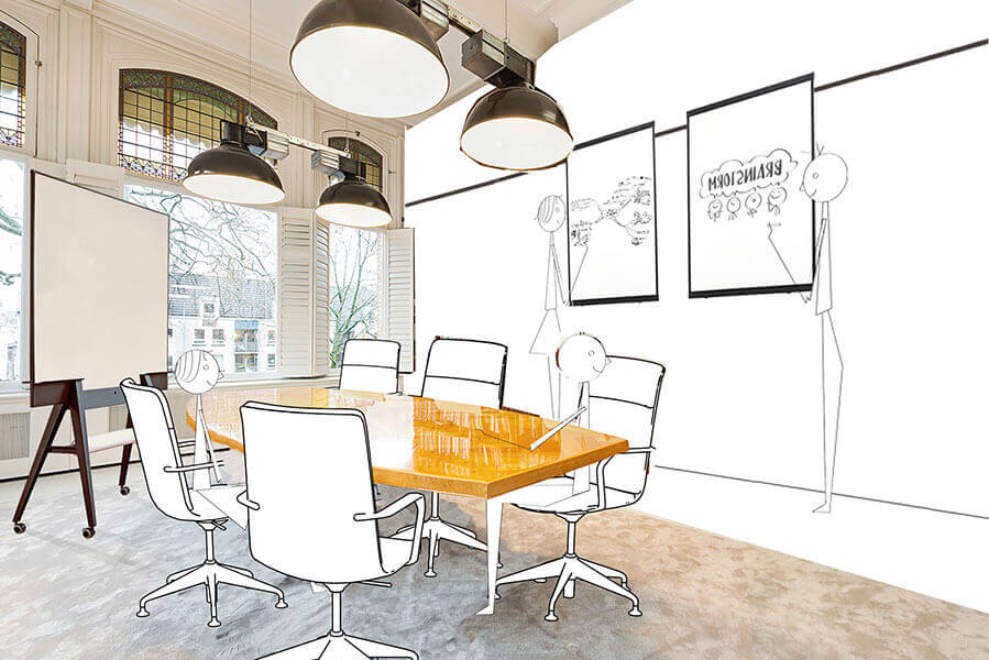 Creatieve vergaderruimte met whiteboards