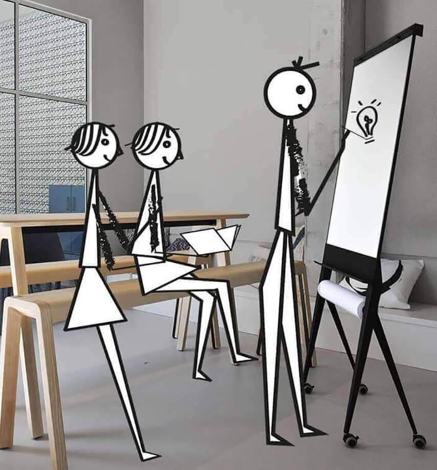 Elegante, multifunctionele whiteboards, flip-overs, magnetisch, emaille, verrijdbaar, inklapbaar