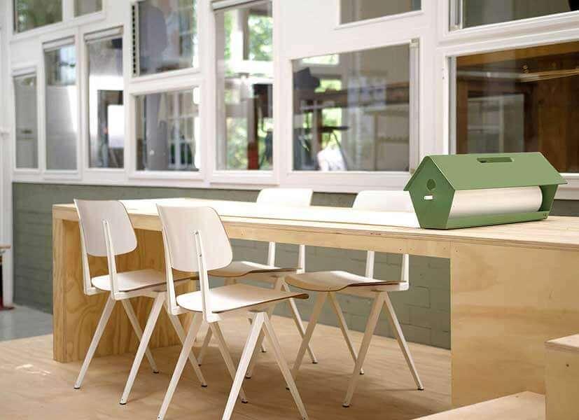 Vogelhuis met papierrol, papierroller voor ideeën
